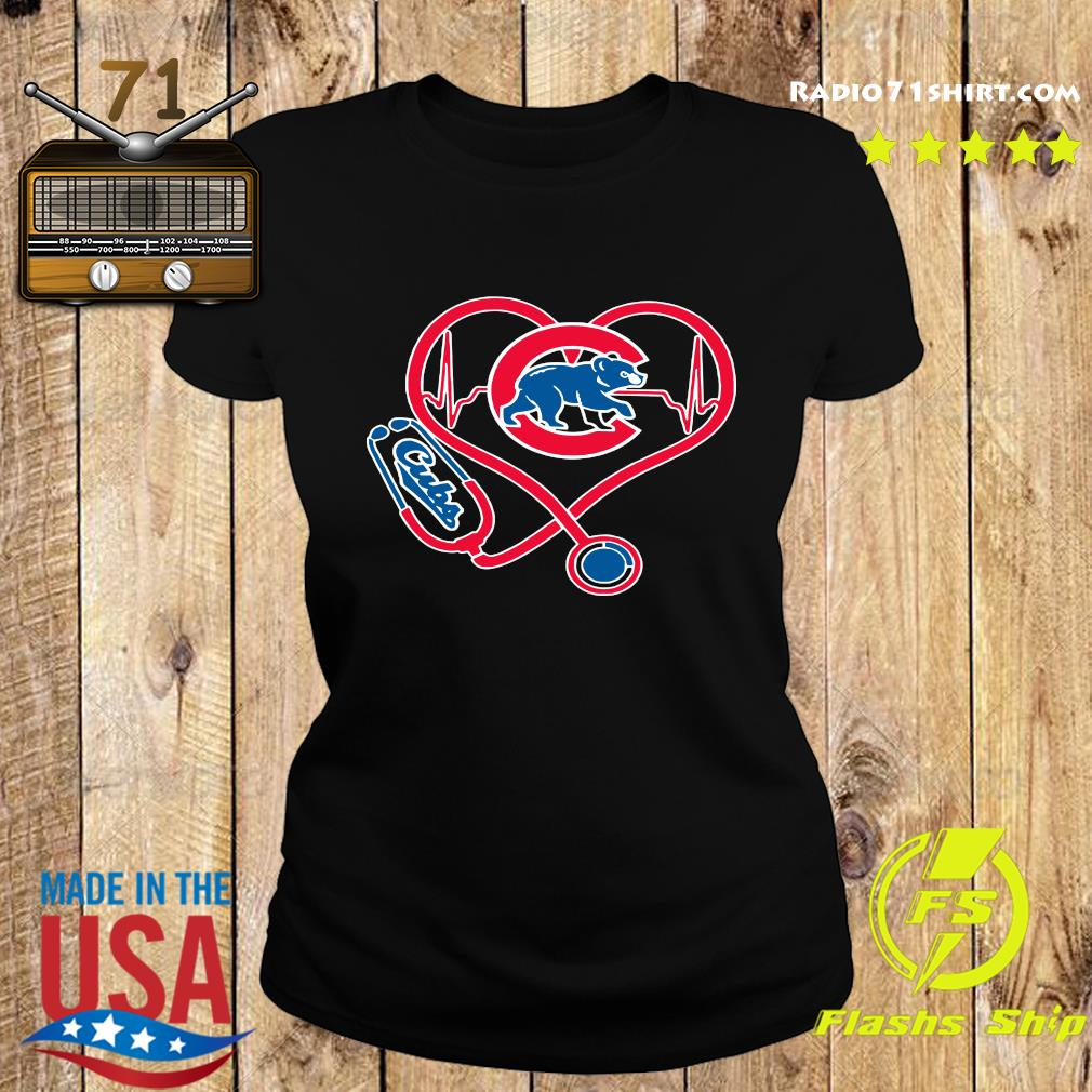 Chicago Cubs Baseball Stethoscope Heartbeat Shirt Ladies tee