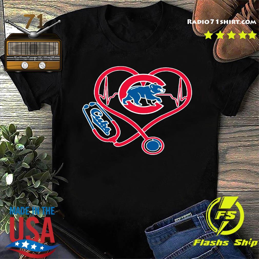 Chicago Cubs Baseball Stethoscope Heartbeat Shirt