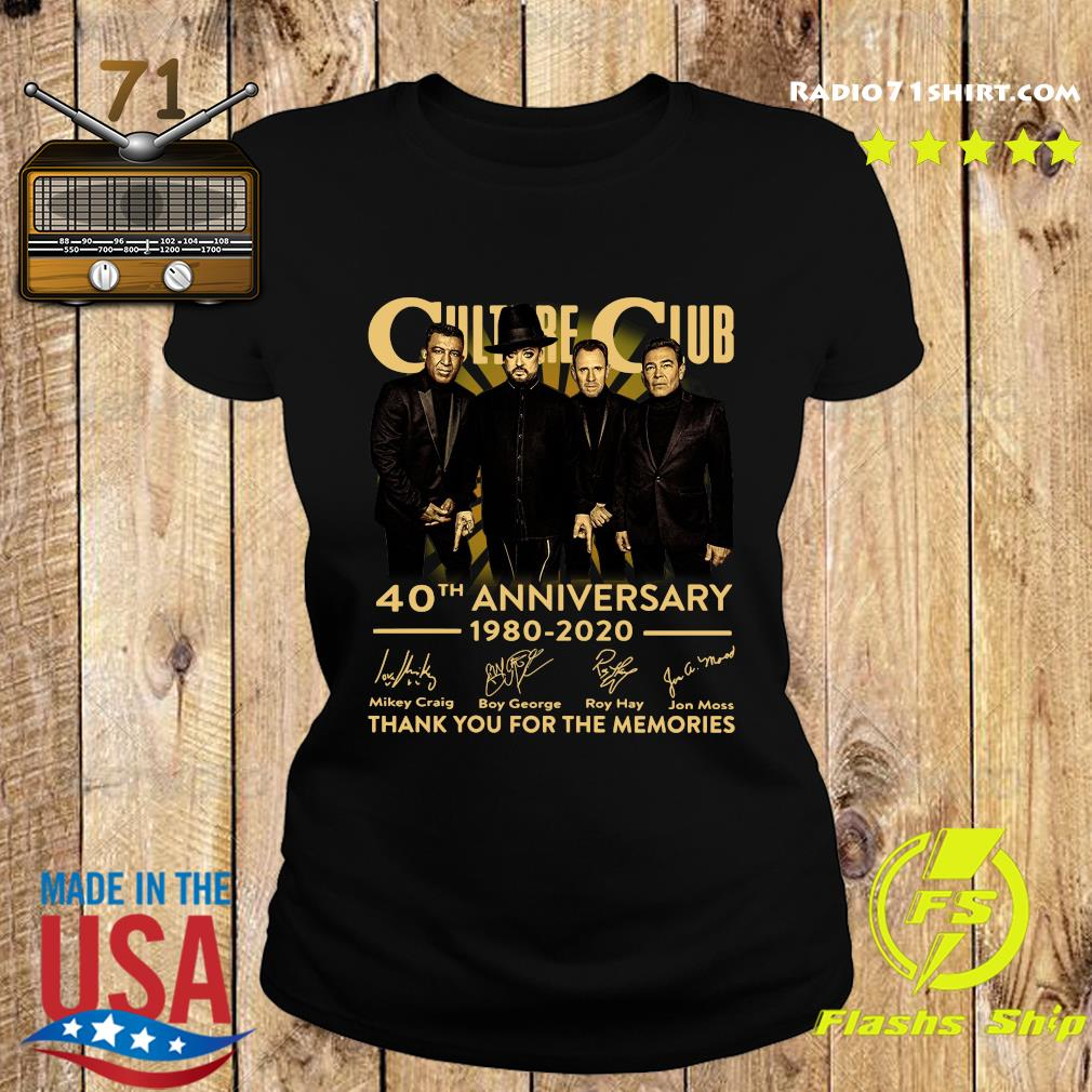 Culture Club 40th Anniversary 1980 2020 Thank You For The Memories Signatures Shirt Ladies tee