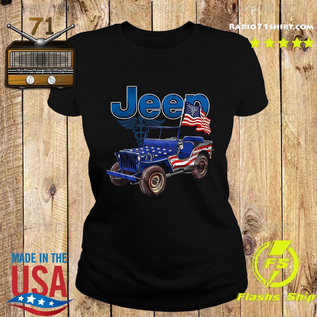 Jeep Car American Flag Shirt Ladies tee