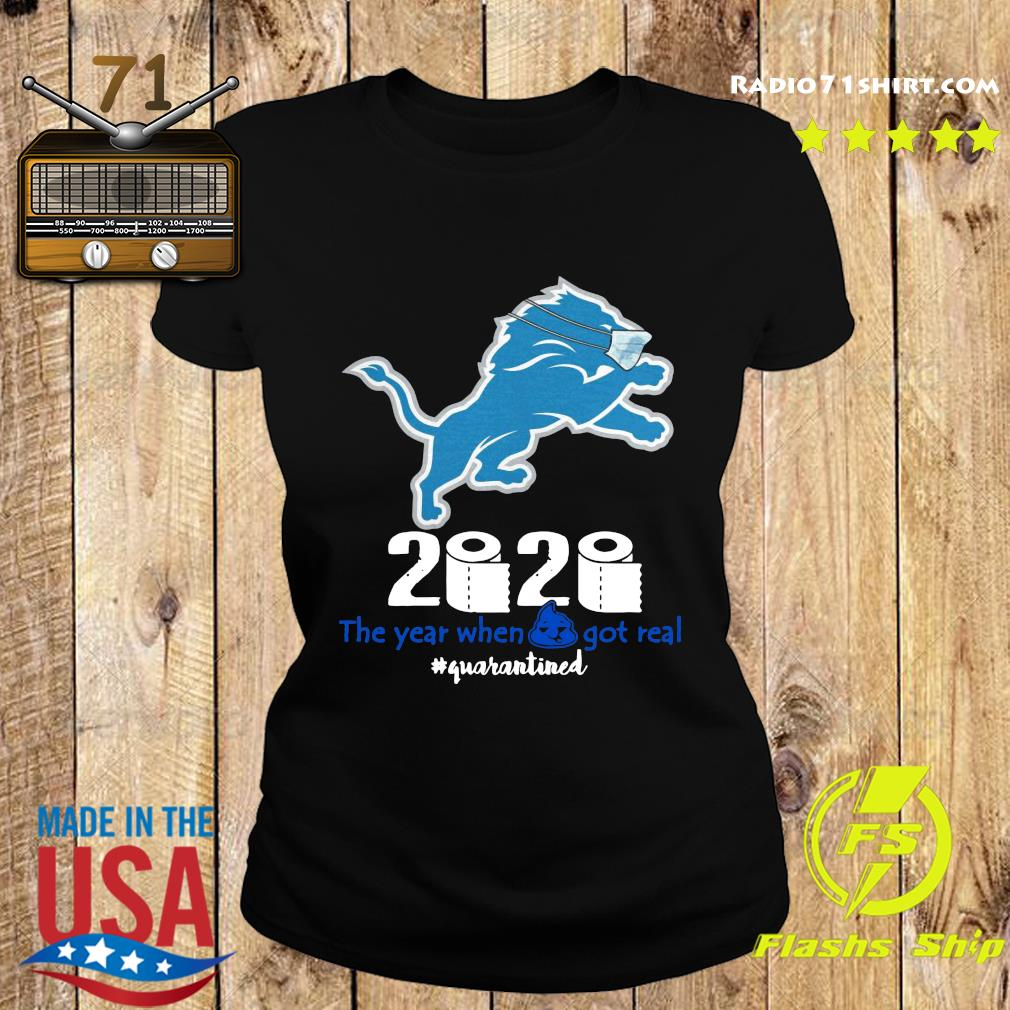 Lion Face Mask 2020 Toilet Paper The Year When Shit Got Real Quarantined Shirt Ladies tee