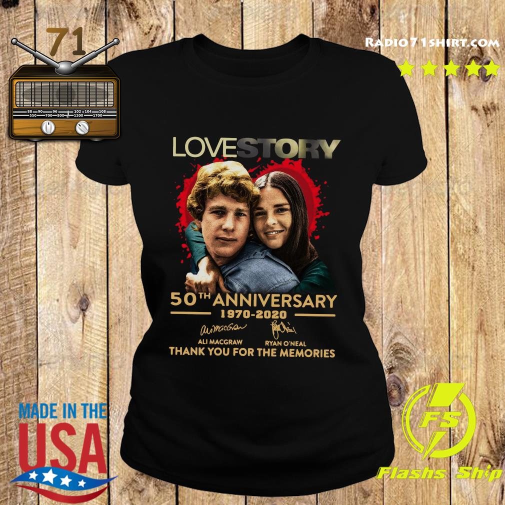 Love Story 50th Anniversary 1970 2020 Signatures Thank You For The Memories Shirt Ladies tee