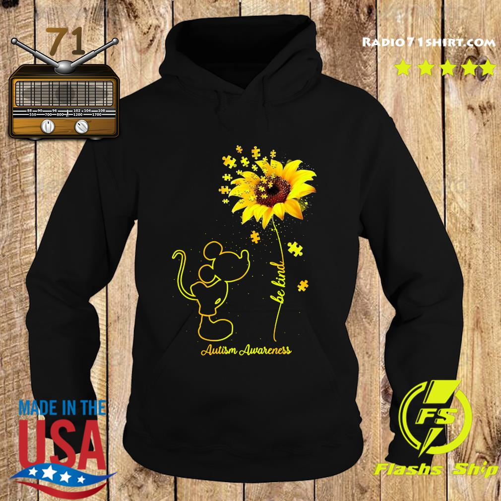Mickey Mouse Be Kind Sunflower Autism Awareness Shirt Hoodie