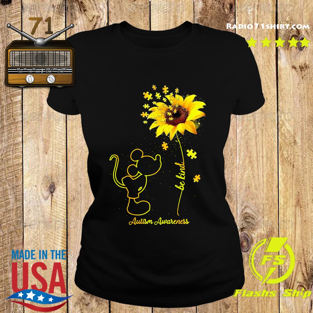 Mickey Mouse Be Kind Sunflower Autism Awareness Shirt Ladies tee