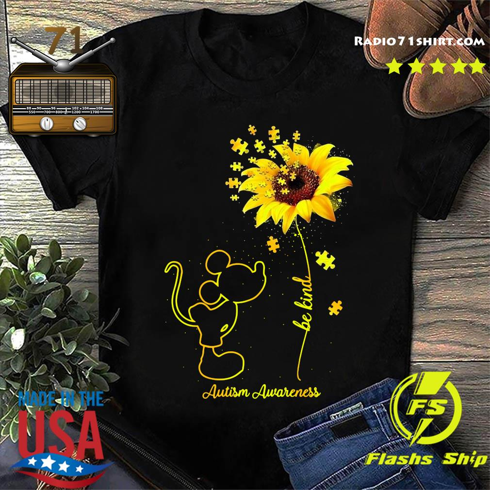 Mickey Mouse Be Kind Sunflower Autism Awareness Shirt