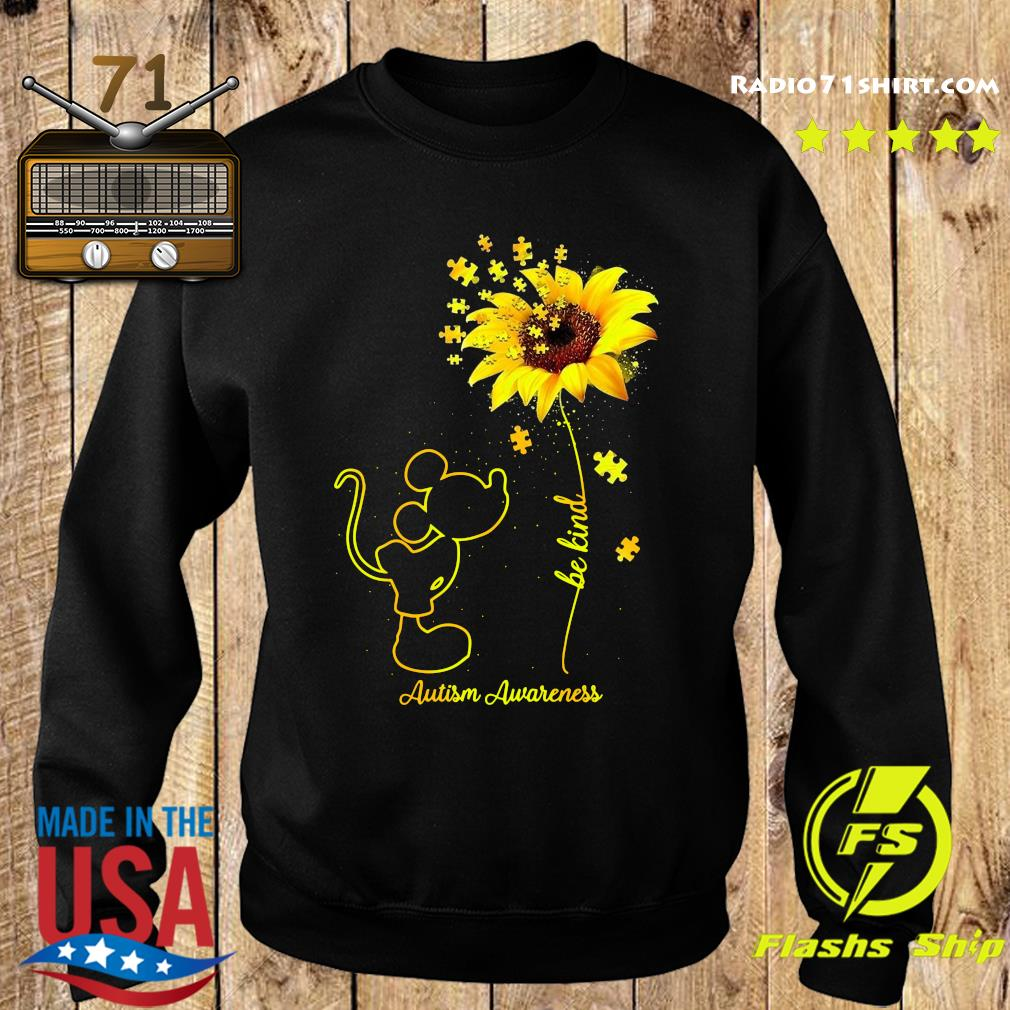 Mickey Mouse Be Kind Sunflower Autism Awareness Shirt Sweater