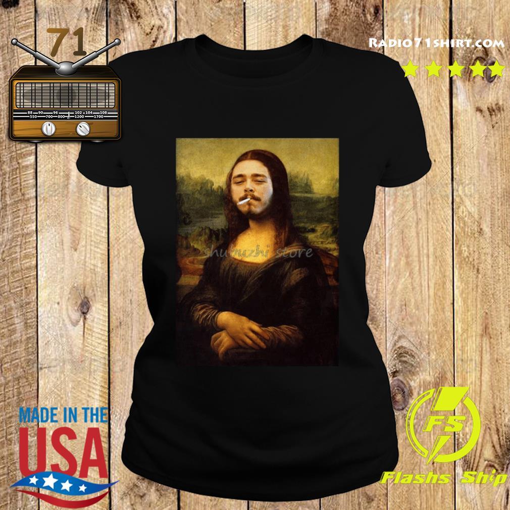 Post Malone Mona Lisa Smoking Shirt Ladies tee