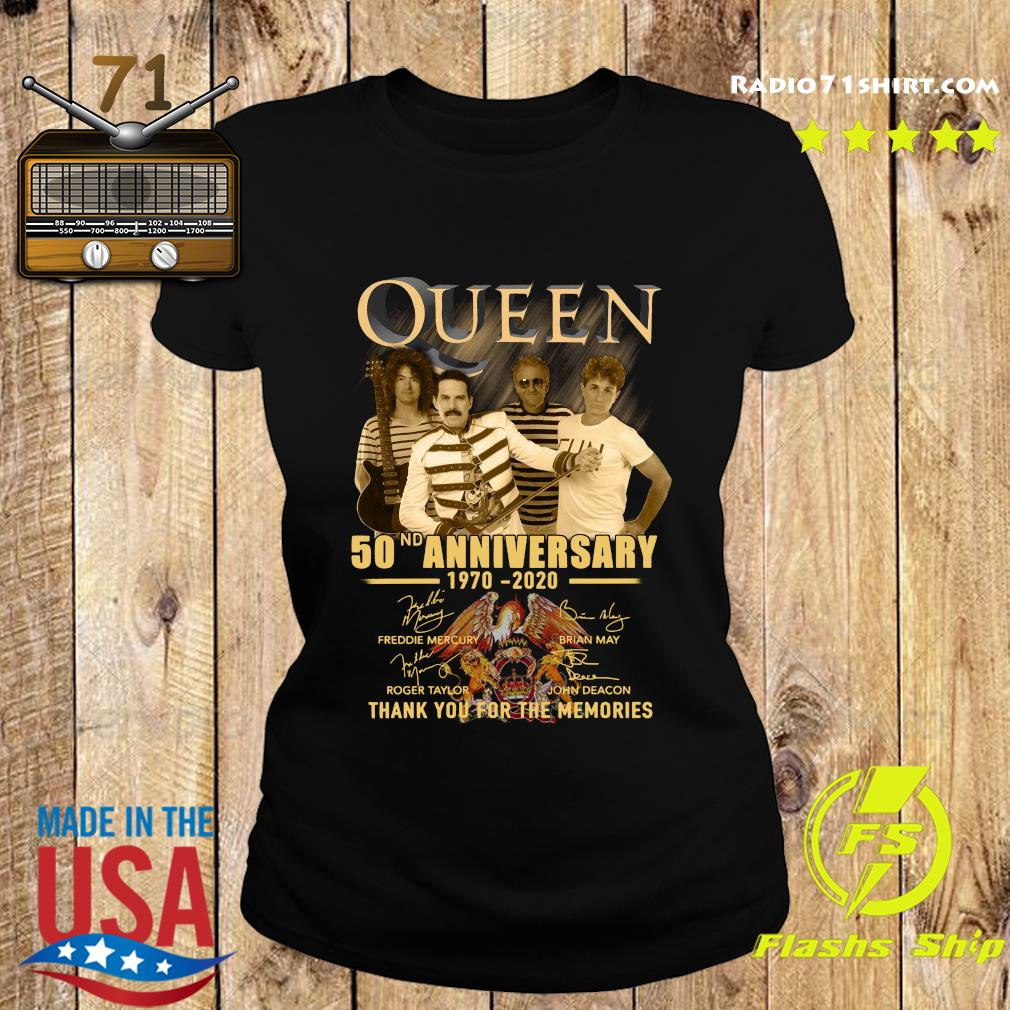 Queen 50nd Anniversary 1970 2020 Thank You For The Memories Signatures Shirt Ladies tee