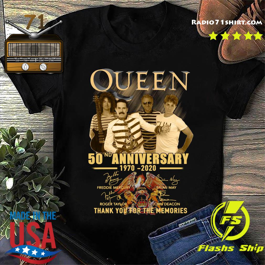 Queen 50nd Anniversary 1970 2020 Thank You For The Memories Signatures Shirt