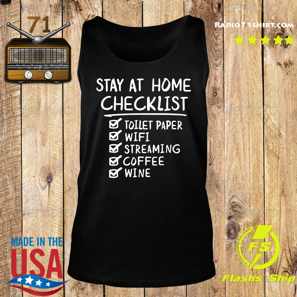 Stay At Home Checklist Letter Print Shirt Tank top