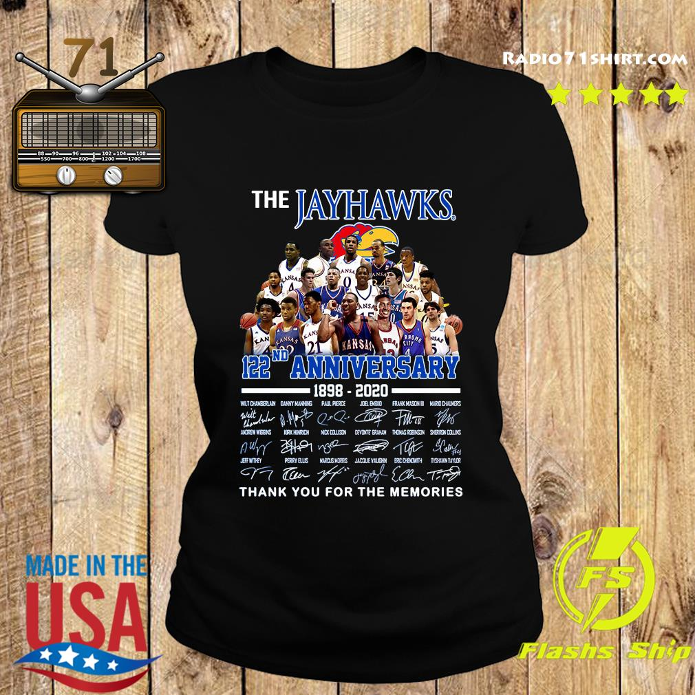 The Jayhawks 122nd Anniversary 1898 2020 Thank You For The Memories Signatures Shirt Ladies tee