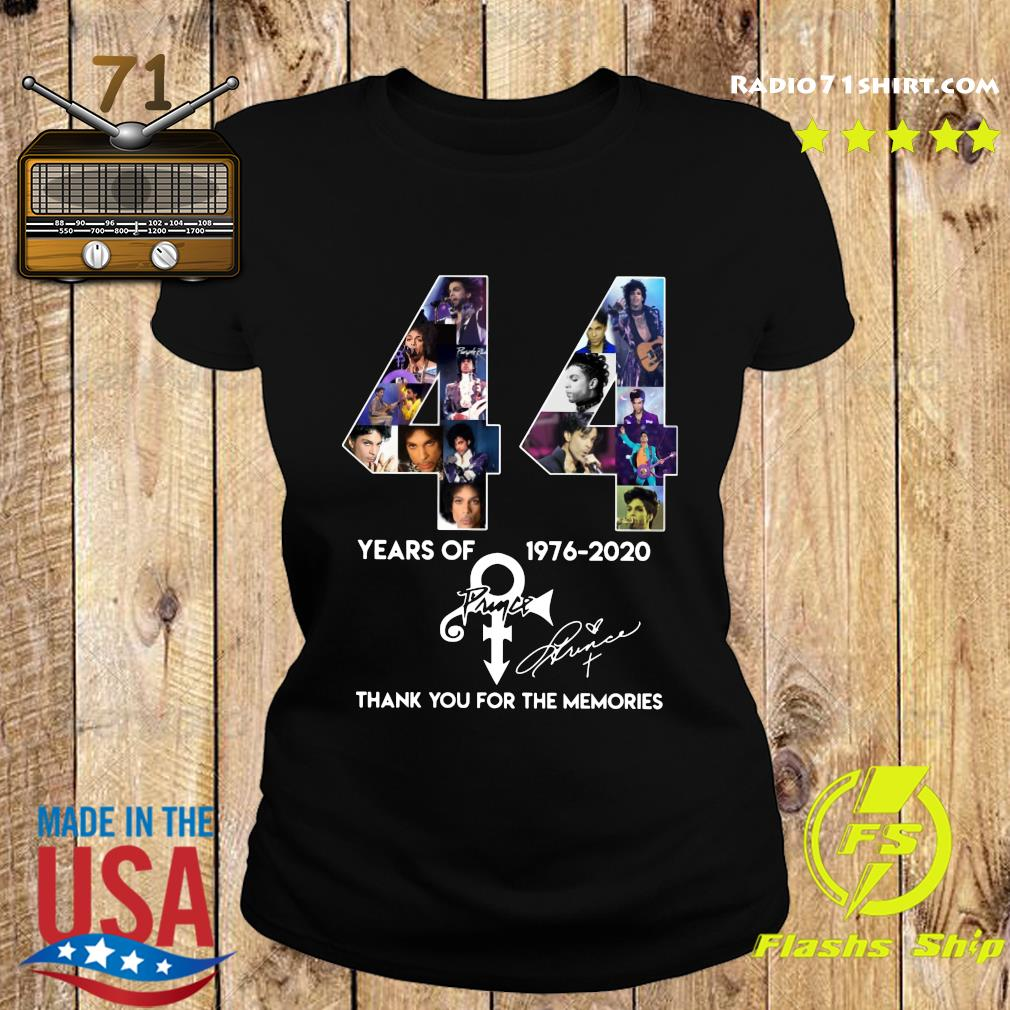 44 Year Of 1976 2020 Prince Thank You For The Memories Signature Shirt Ladies tee