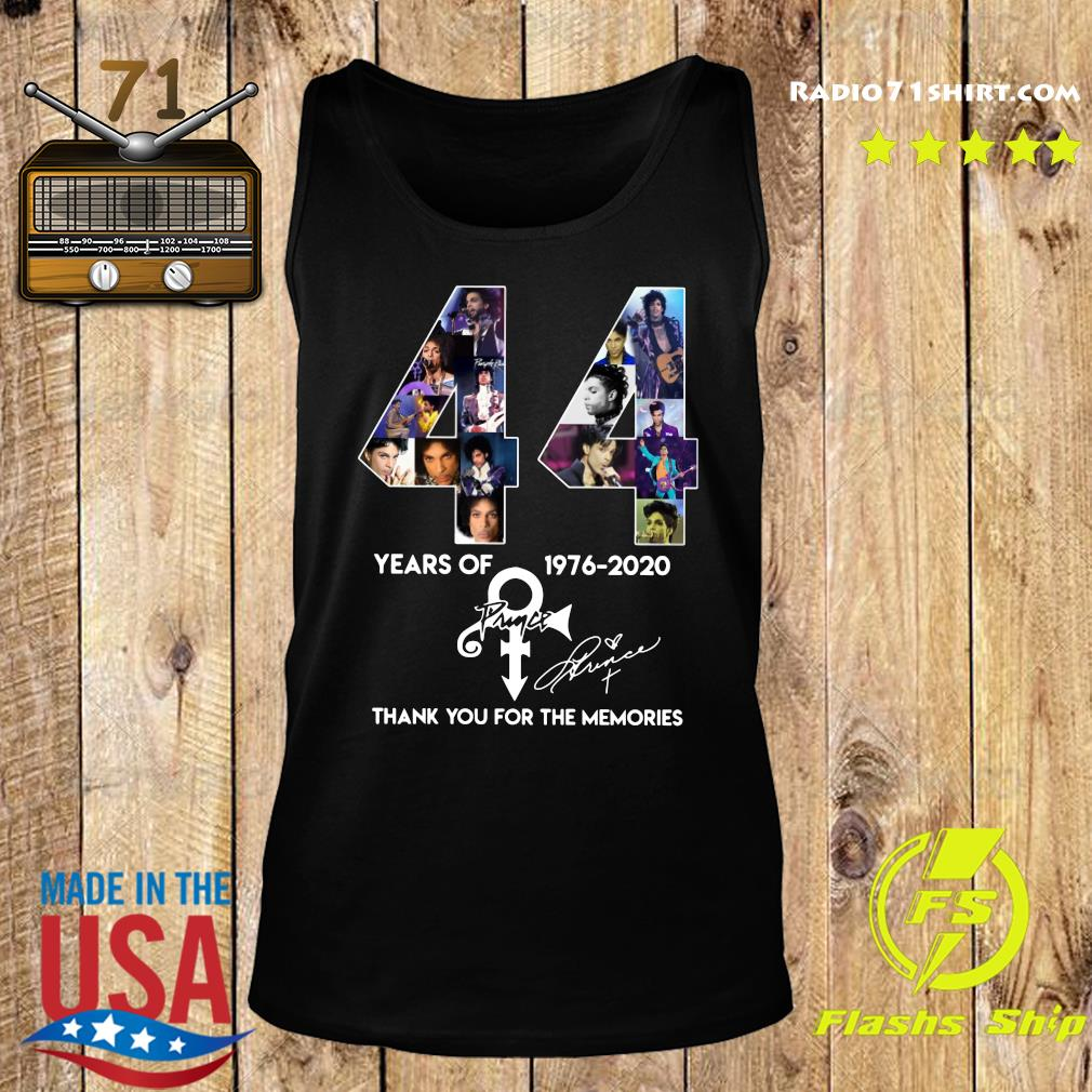 44 Year Of 1976 2020 Prince Thank You For The Memories Signature Shirt Tank top