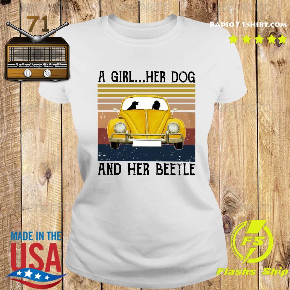 A Girl Her Dog And Her Volkswagen Beetle Vintage Shirt Ladies tee