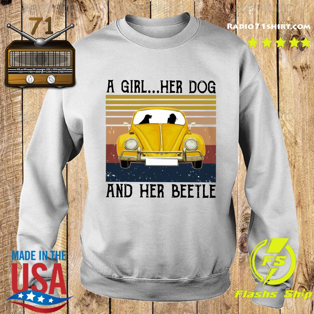A Girl Her Dog And Her Volkswagen Beetle Vintage Shirt Sweater