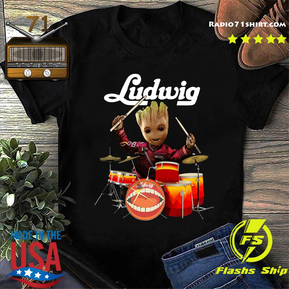 Baby Groot Show Animal Playing Drum Ludwig Shirt