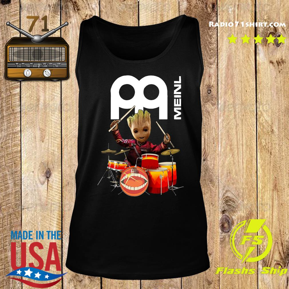 Baby Groot Show Animal Playing Drum Meinl Percussion Shirt Tank top