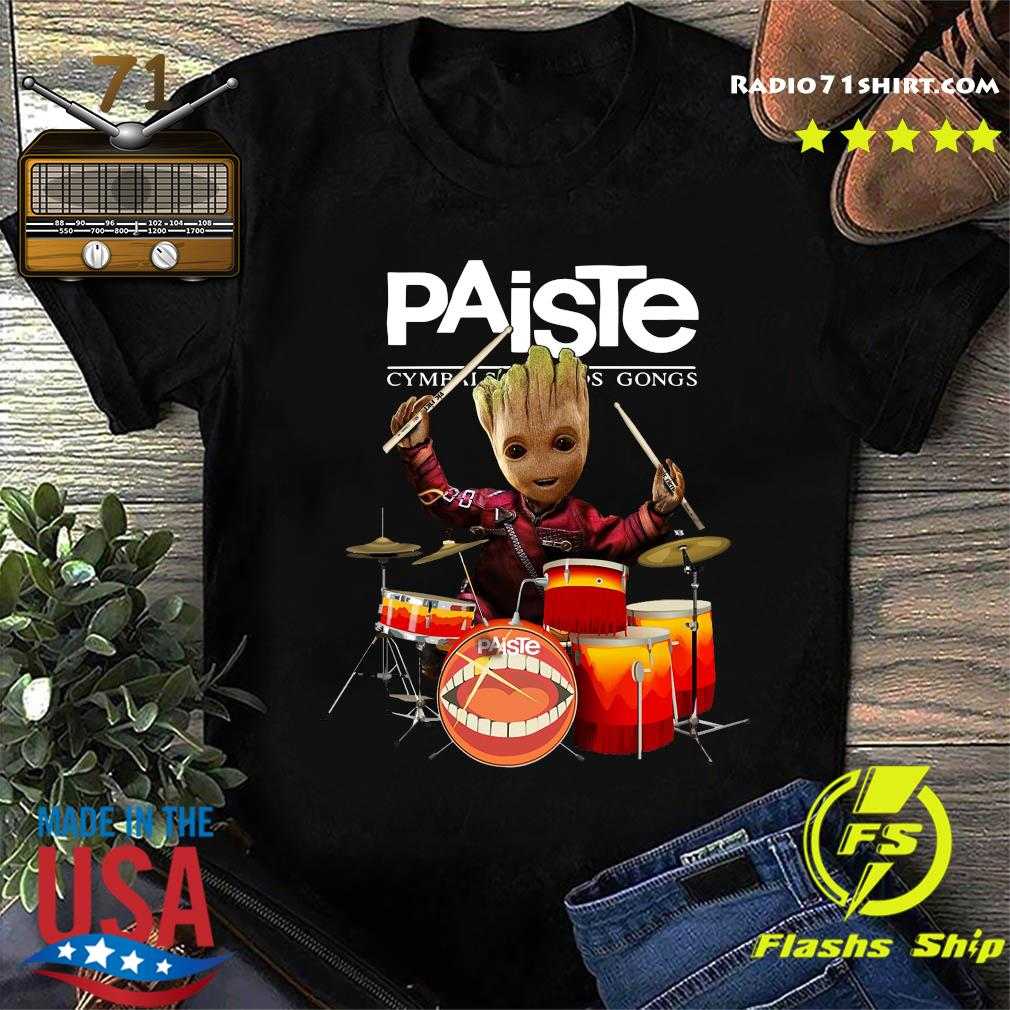 Baby Groot Show Animal Playing Drum Paiste Cymbals Sound Gongs Shirt