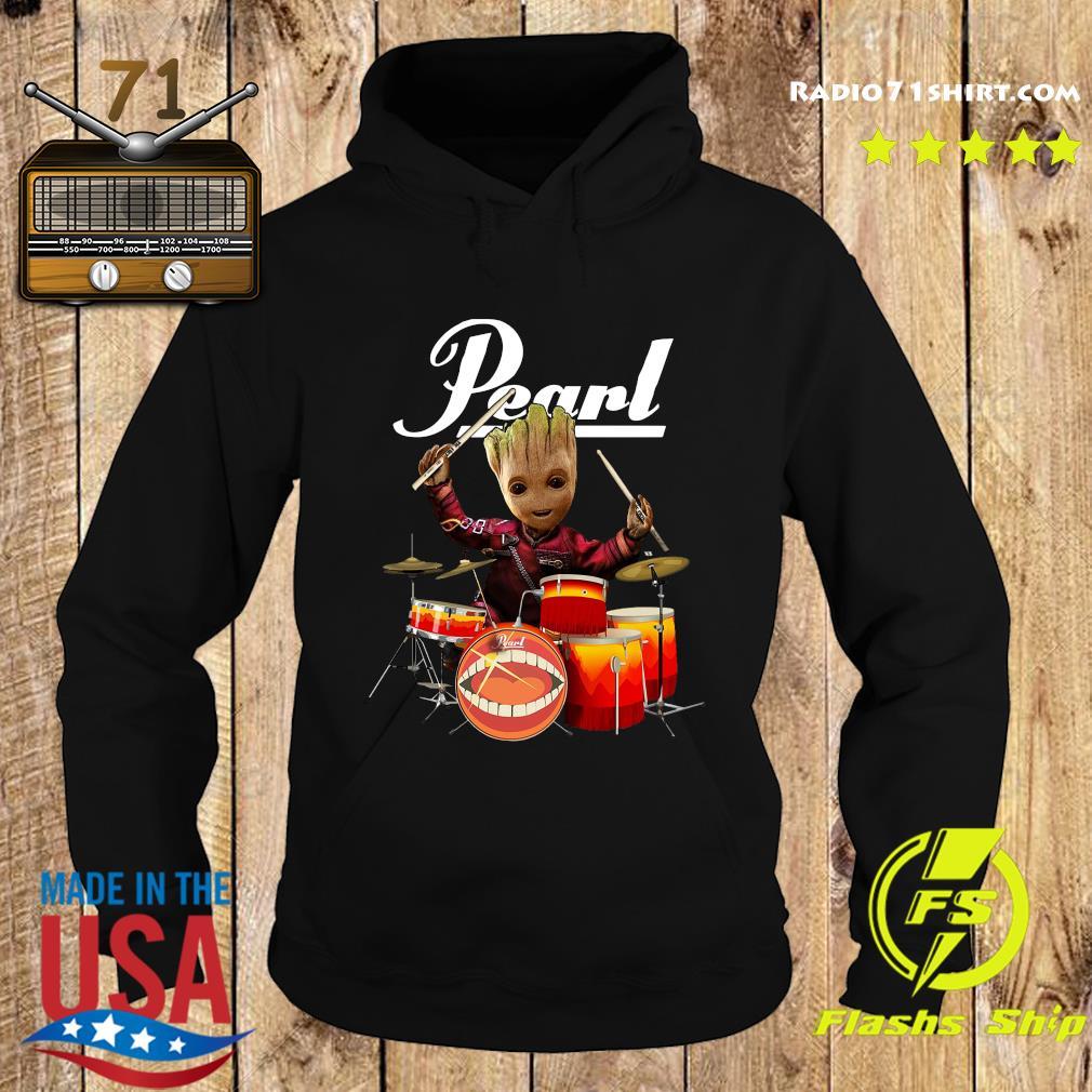 Baby Groot Show Animal Playing Drum Pearl Shirt Hoodie