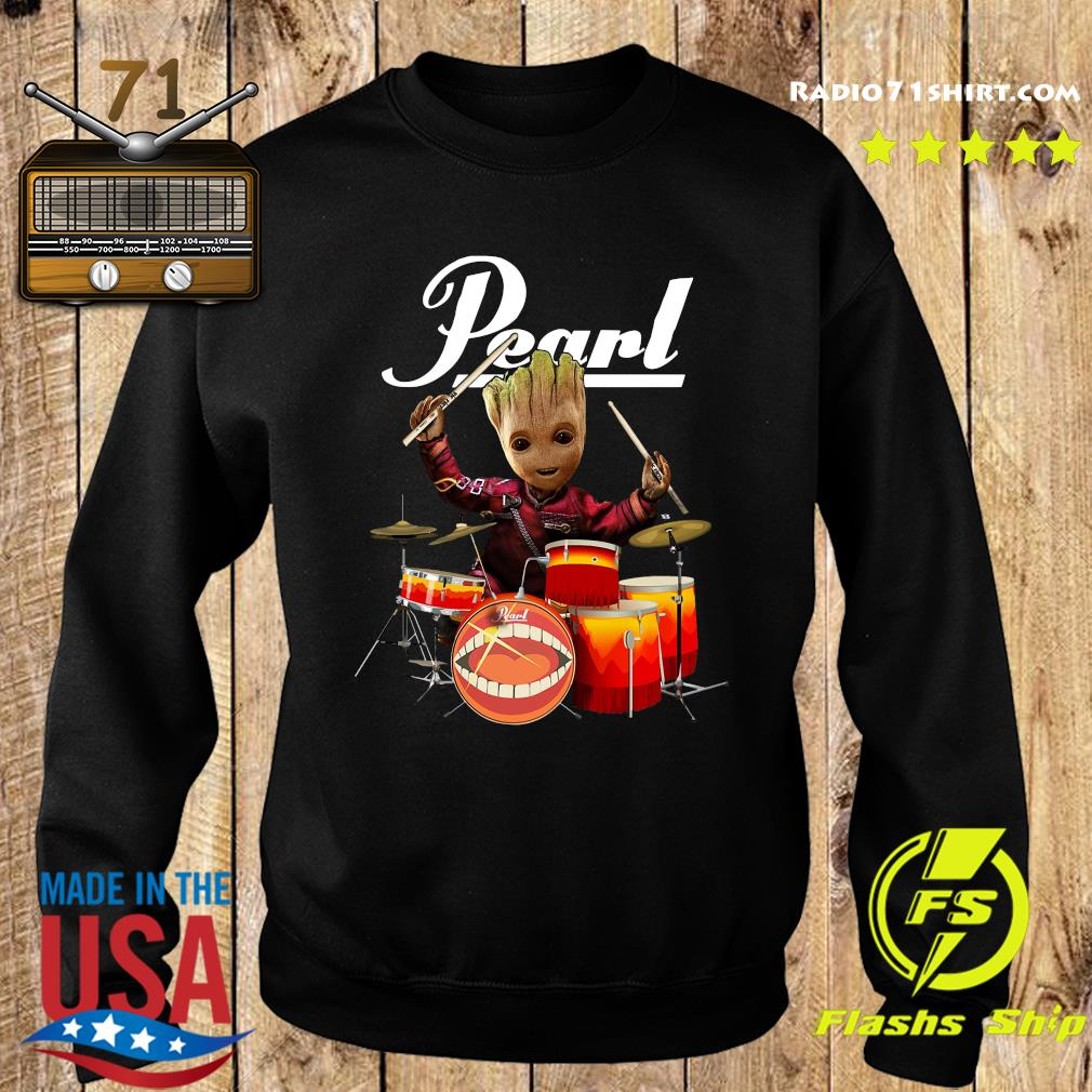Baby Groot Show Animal Playing Drum Pearl Shirt Sweater