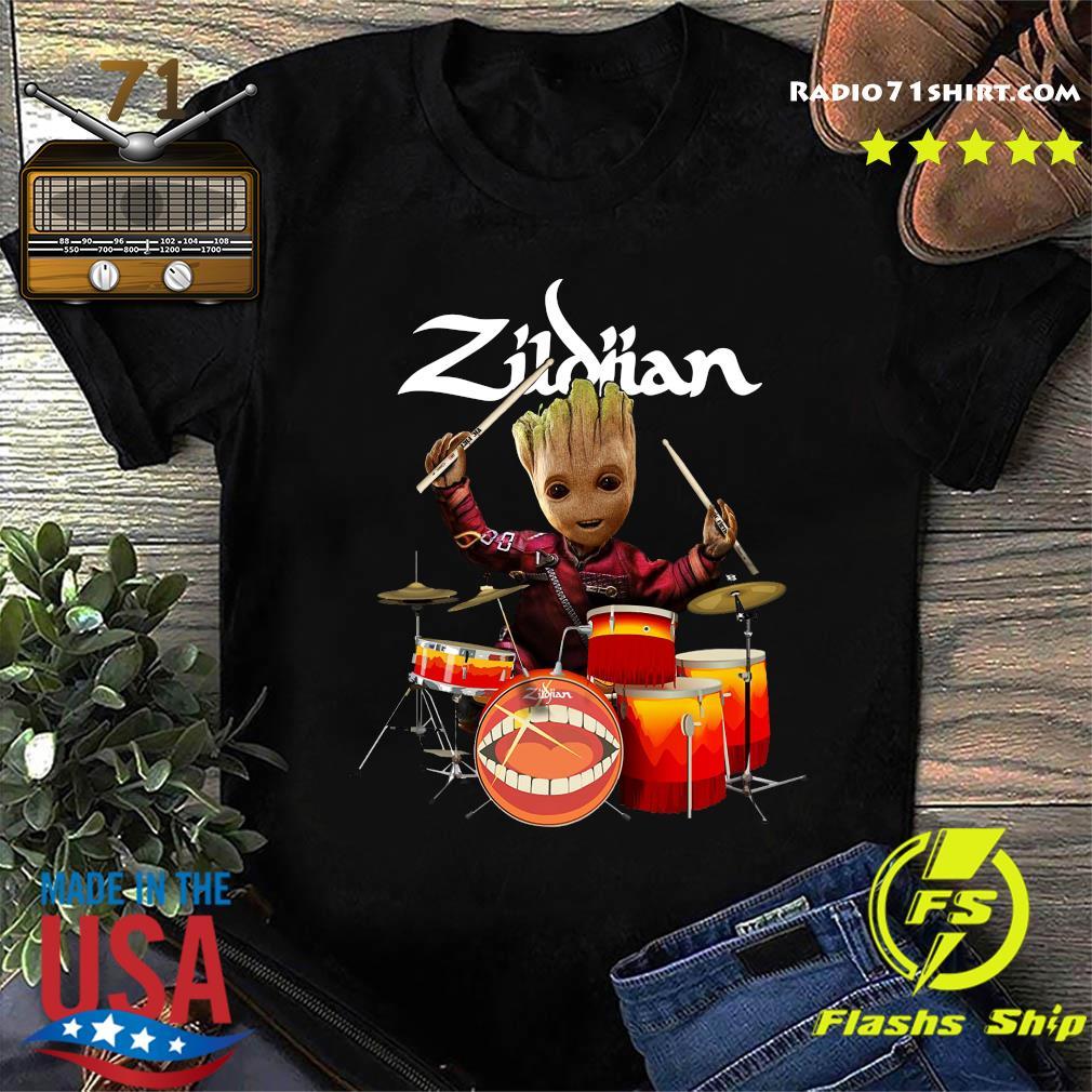 Baby Groot Show Animal Playing Drum Zidian Shirt