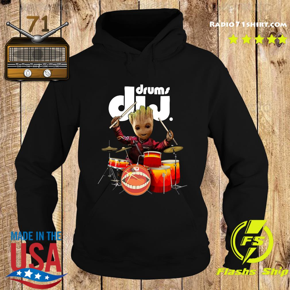 Baby Groot Show Animal Playing Drums Dij Drums Shirt Hoodie
