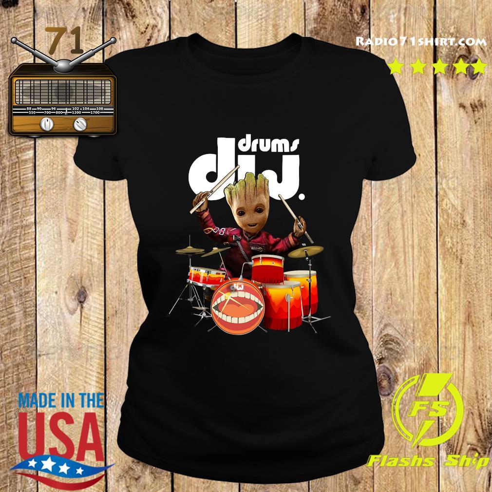 Baby Groot Show Animal Playing Drums Dij Drums Shirt Ladies tee
