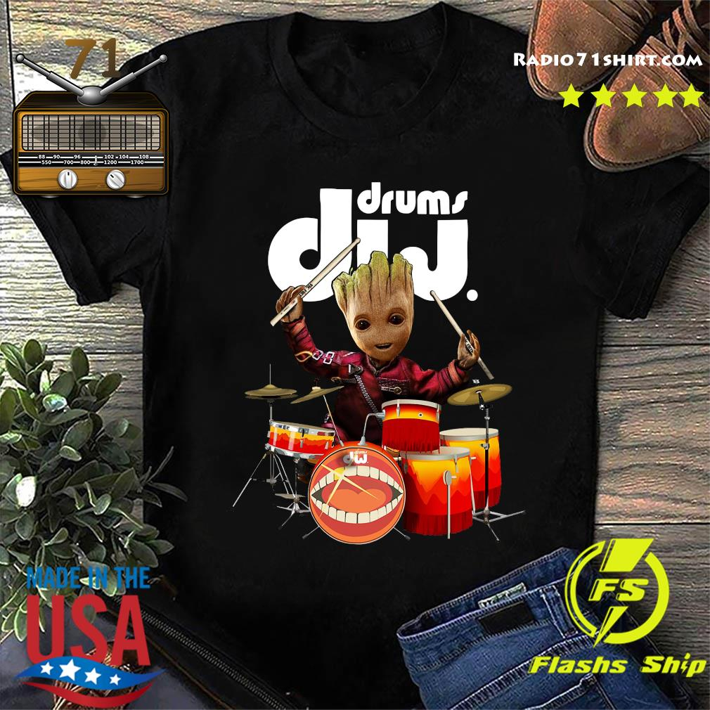 Baby Groot Show Animal Playing Drums Dij Drums Shirt