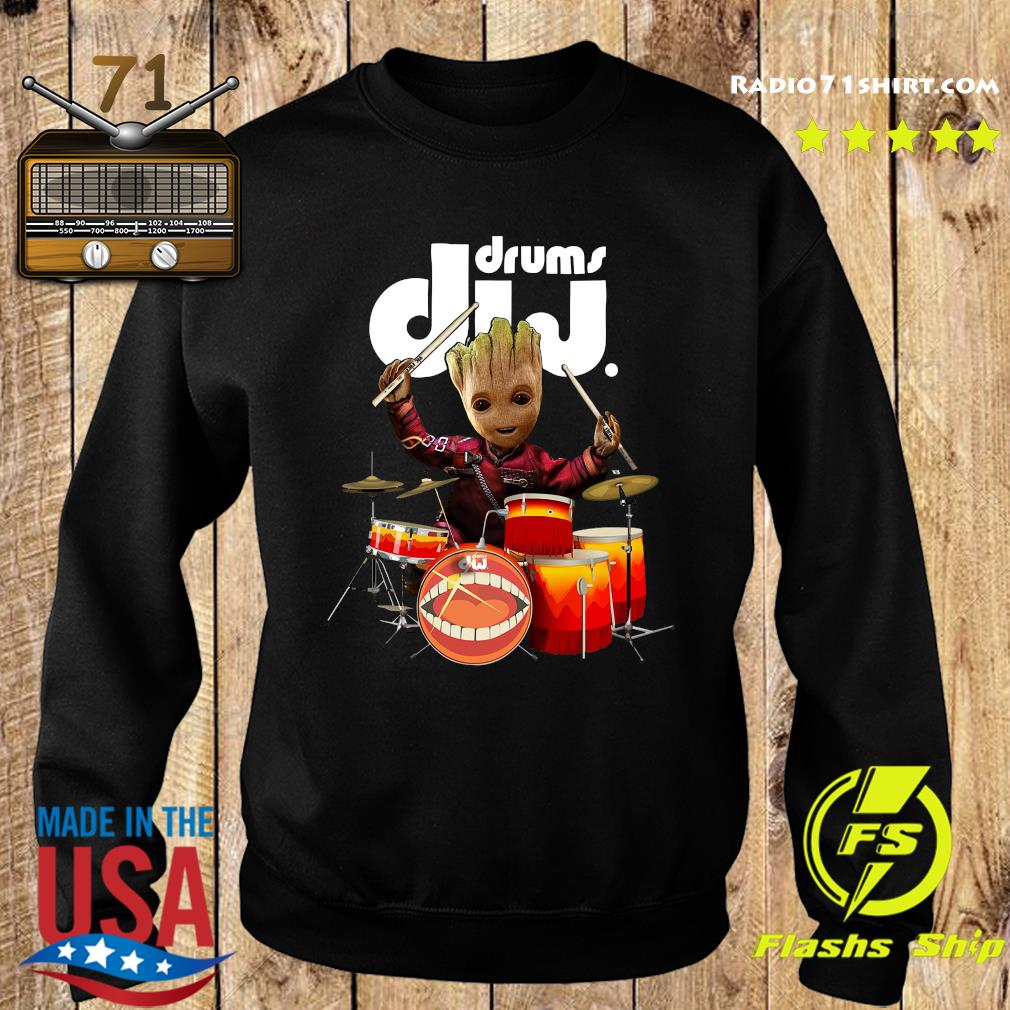 Baby Groot Show Animal Playing Drums Dij Drums Shirt Sweater