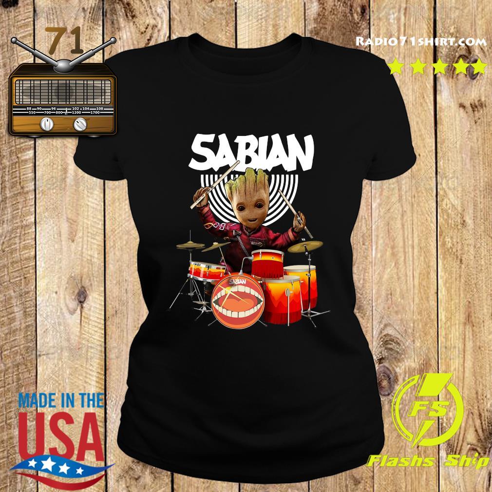 Baby Groot Show Animal Playing Sabian Drums Shirt Ladies tee