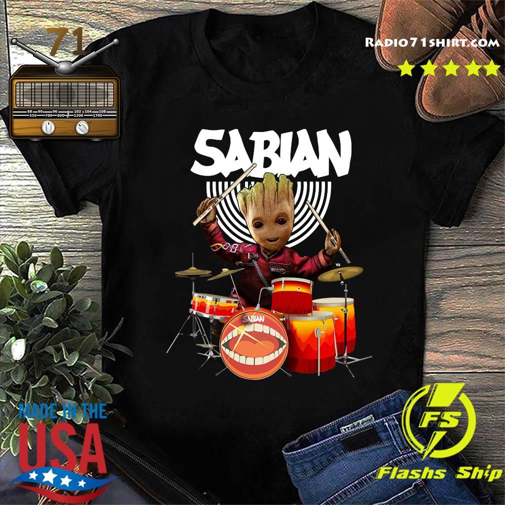 Baby Groot Show Animal Playing Sabian Drums Shirt