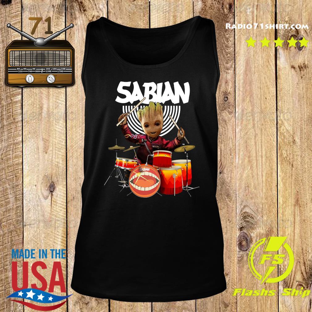Baby Groot Show Animal Playing Sabian Drums Shirt Tank top