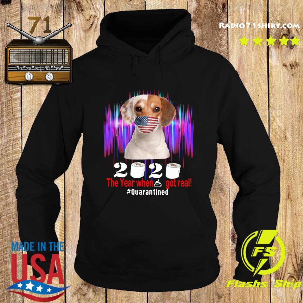 Beagle American Flag Face Mask 2020 The Year When Shit Got Real Quarantined Shirt Hoodie