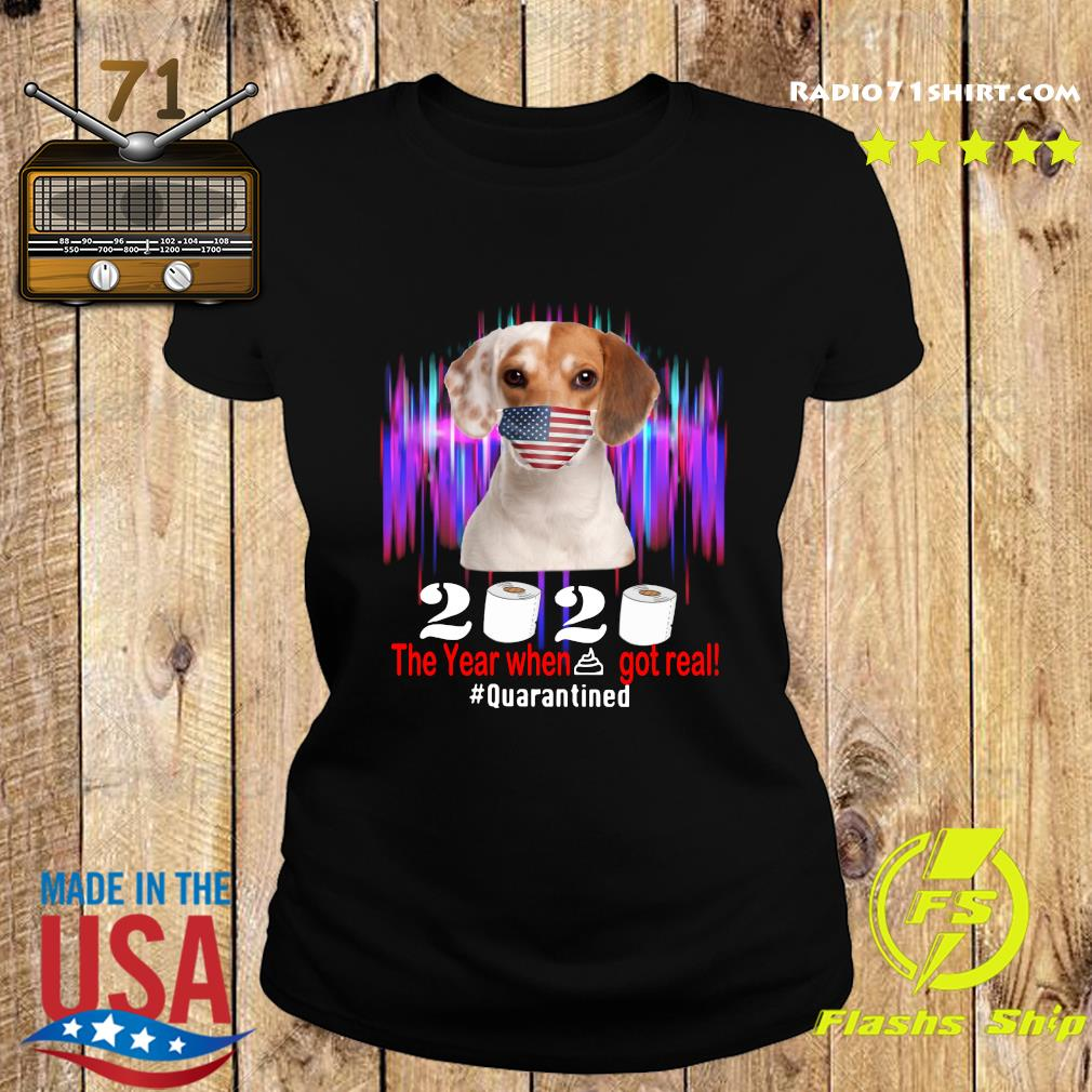 Beagle American Flag Face Mask 2020 The Year When Shit Got Real Quarantined Shirt Ladies tee