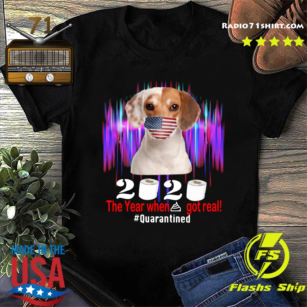 Beagle American Flag Face Mask 2020 The Year When Shit Got Real Quarantined Shirt