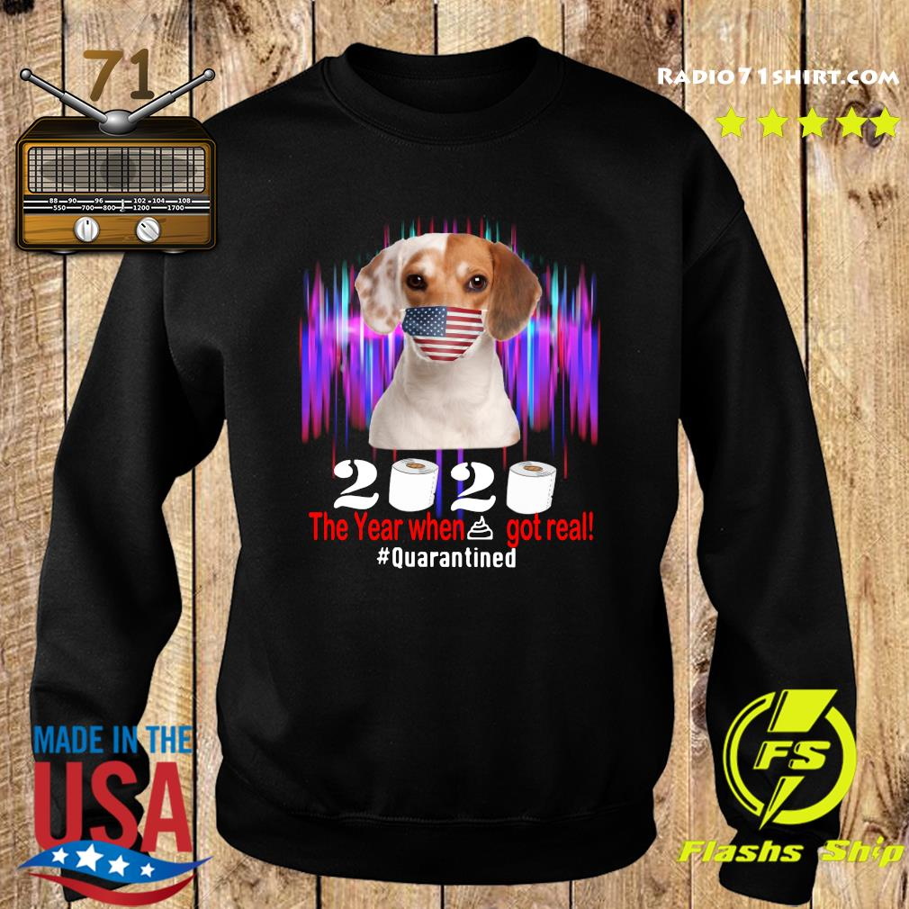 Beagle American Flag Face Mask 2020 The Year When Shit Got Real Quarantined Shirt Sweater