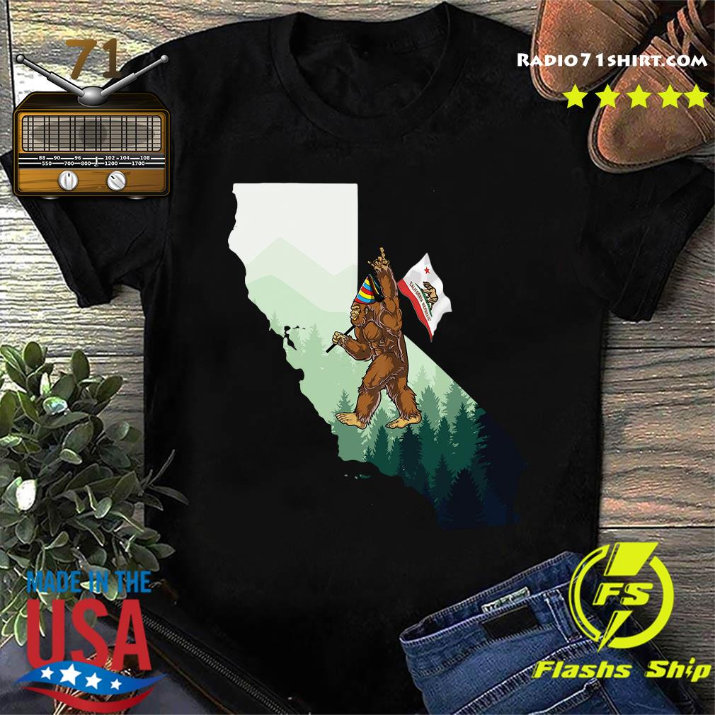 Bigfoot Rock And Roll California Map Shirt