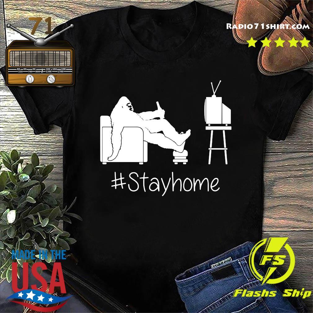 Bigfoot Watching Tv Stayhome Shirt