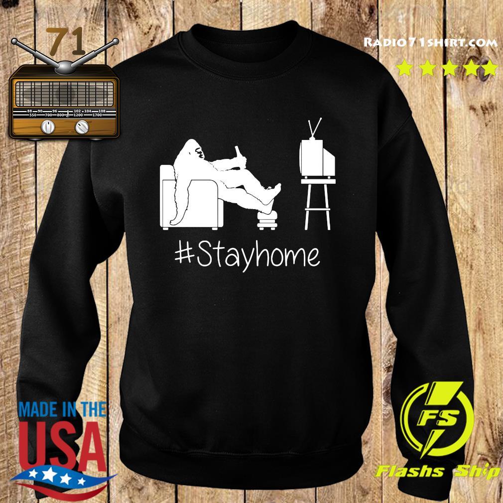 Bigfoot Watching Tv Stayhome Shirt Sweater