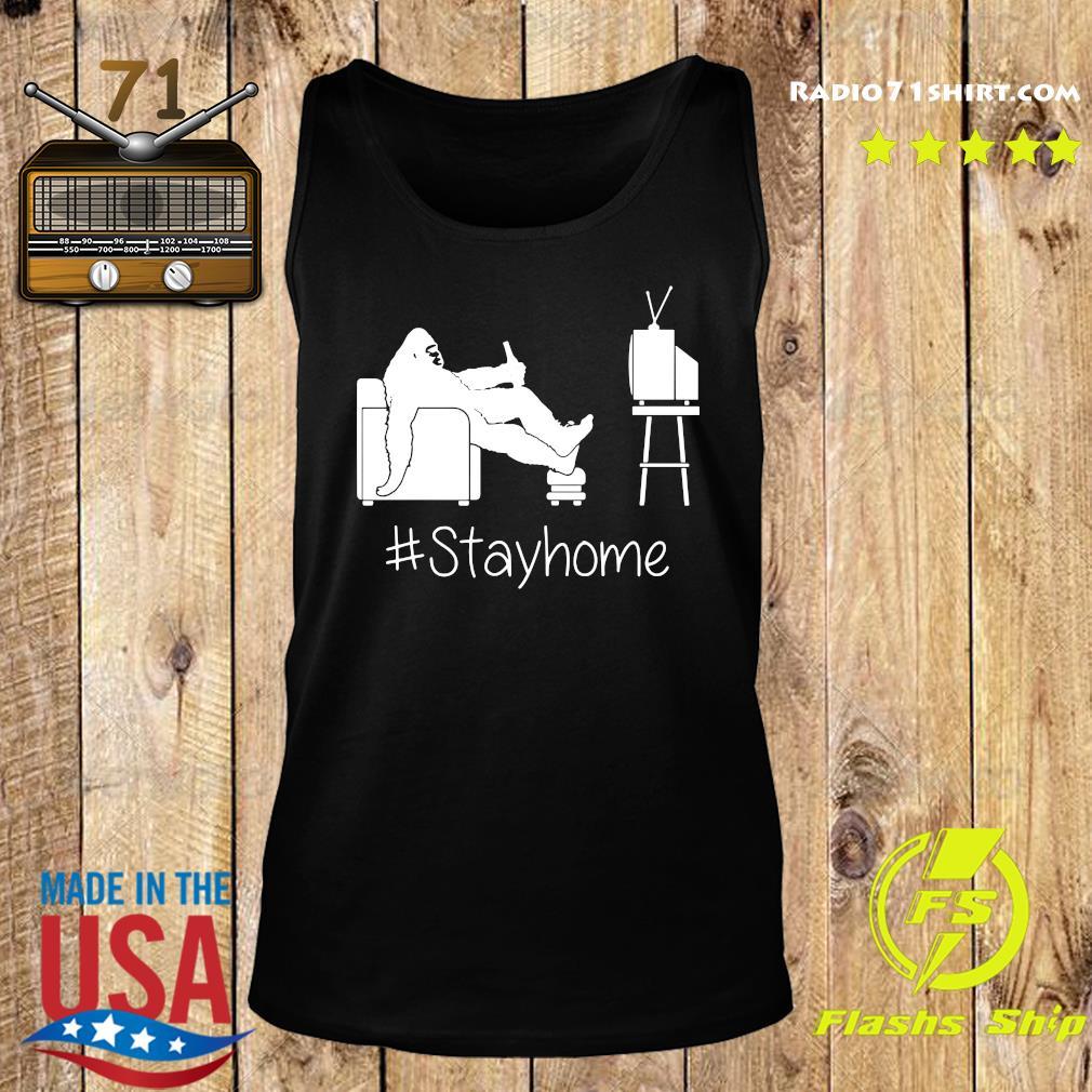 Bigfoot Watching Tv Stayhome Shirt Tank top
