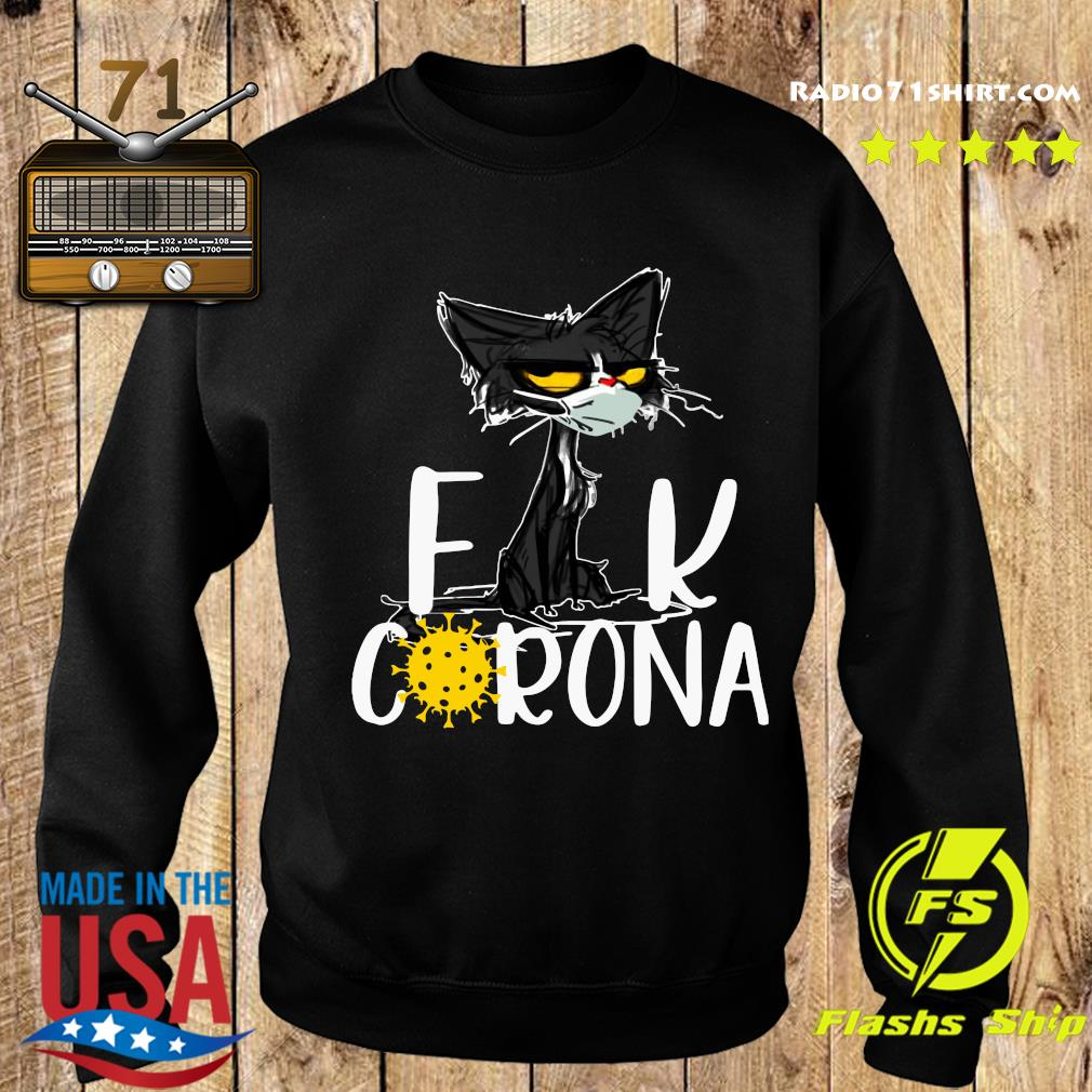 Black Cat Face Mask Fuck Corona Shirt Sweater