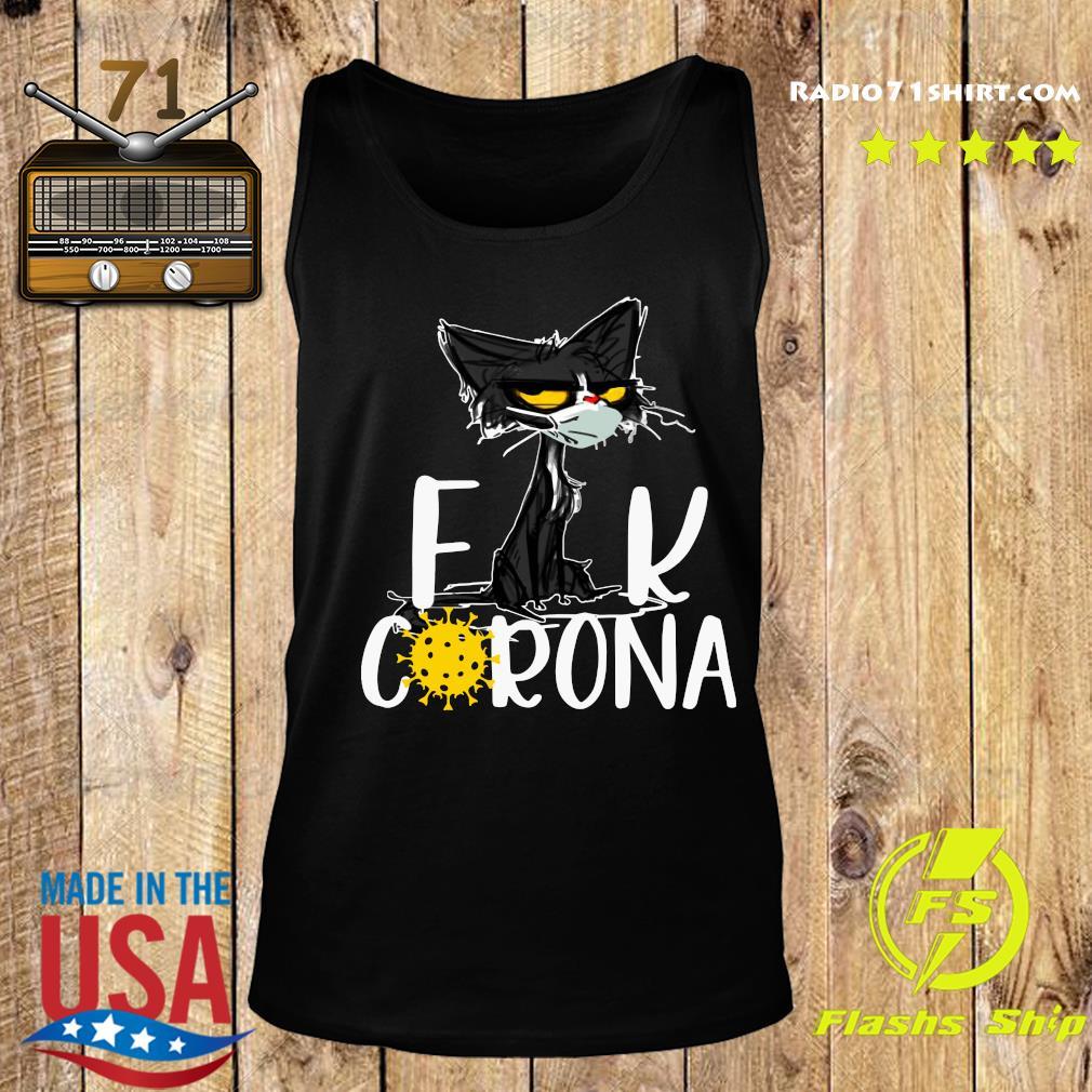 Black Cat Face Mask Fuck Corona Shirt Tank top