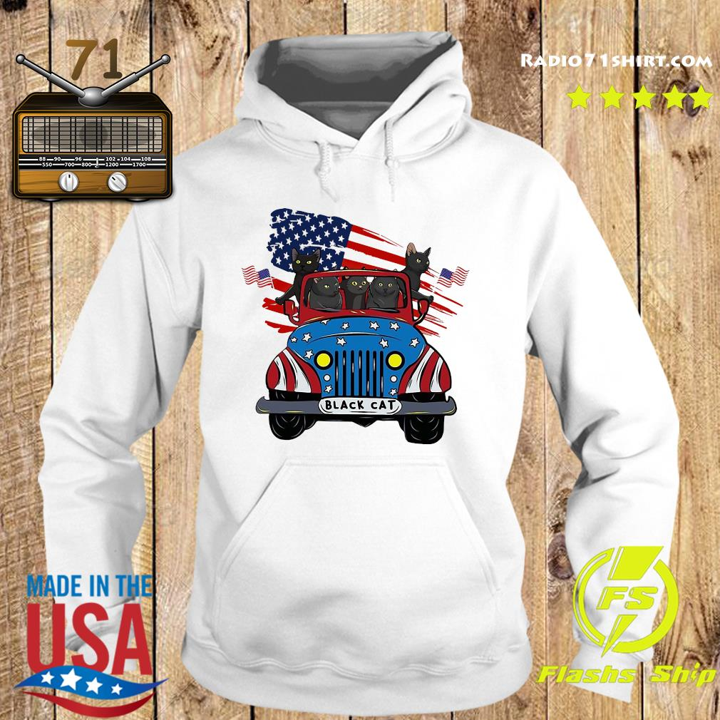 Black Cats Driving Car American Flag Shirt Hoodie