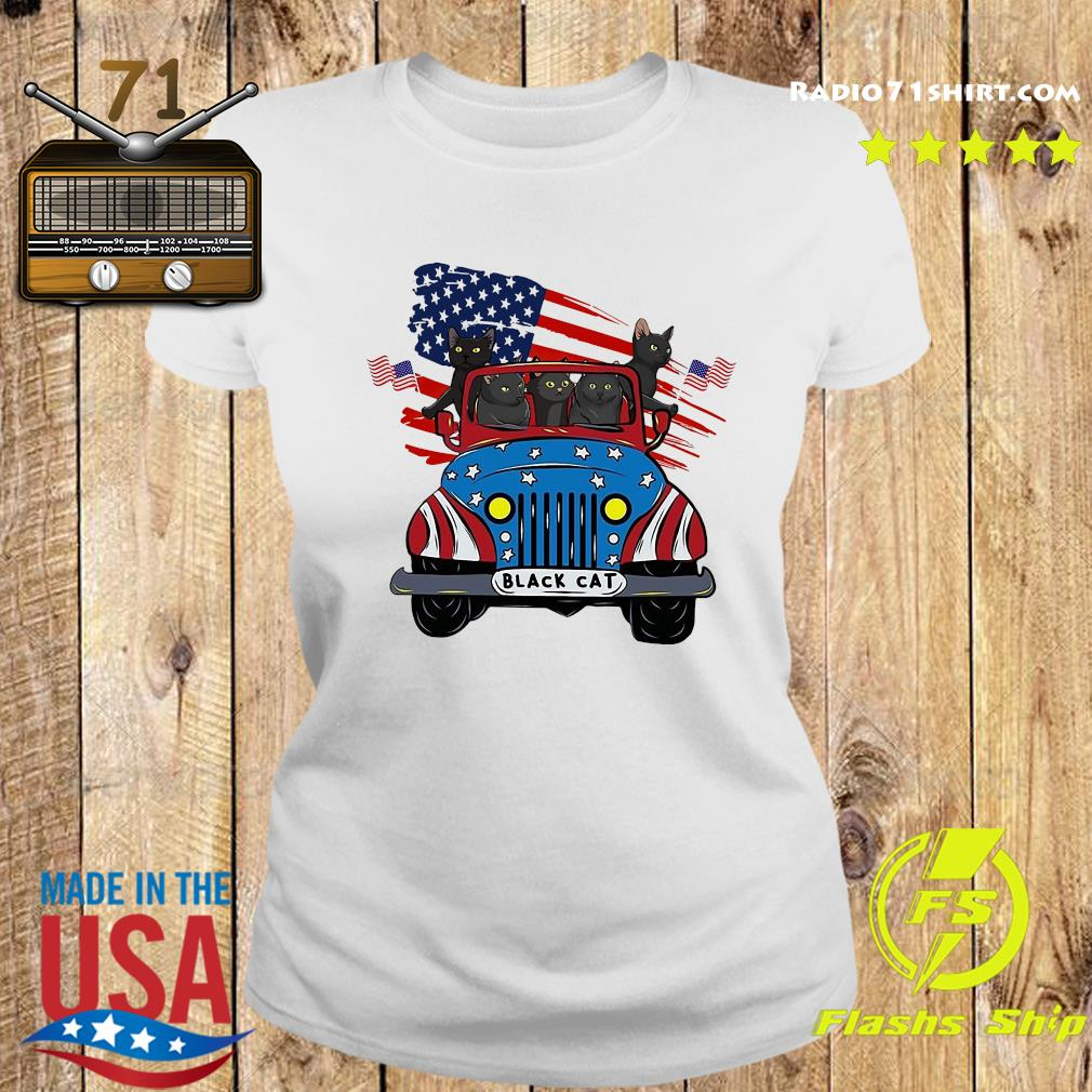 Black Cats Driving Car American Flag Shirt Ladies tee