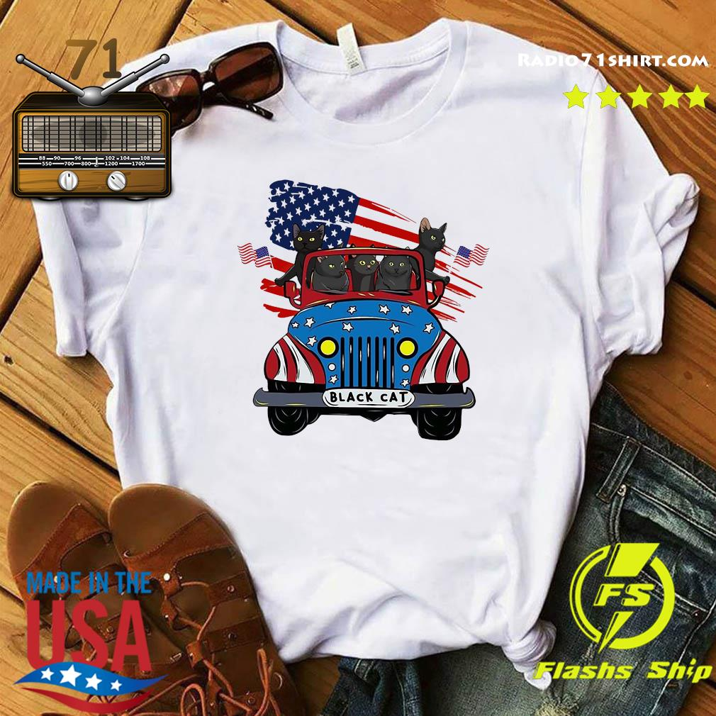 Black Cats Driving Car American Flag Shirt