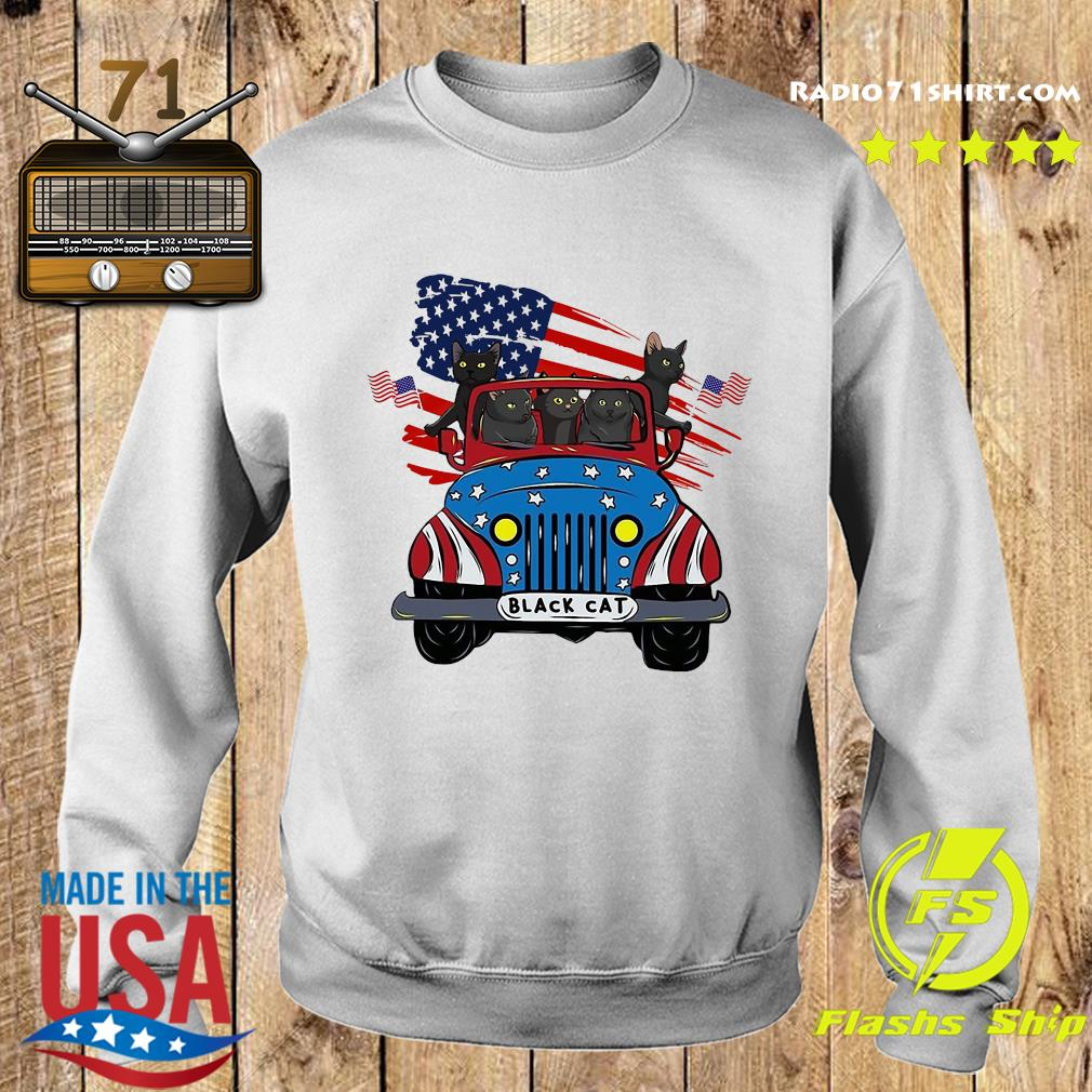 Black Cats Driving Car American Flag Shirt Sweater