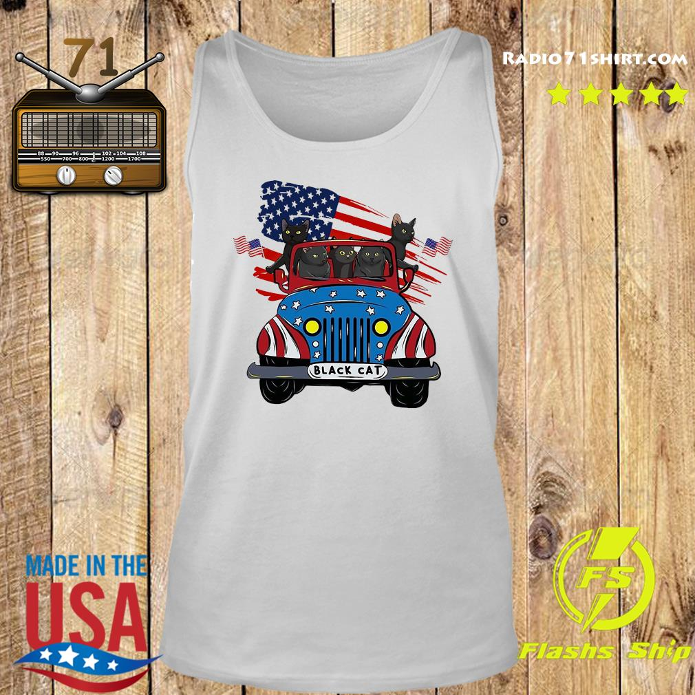 Black Cats Driving Car American Flag Shirt Tank top