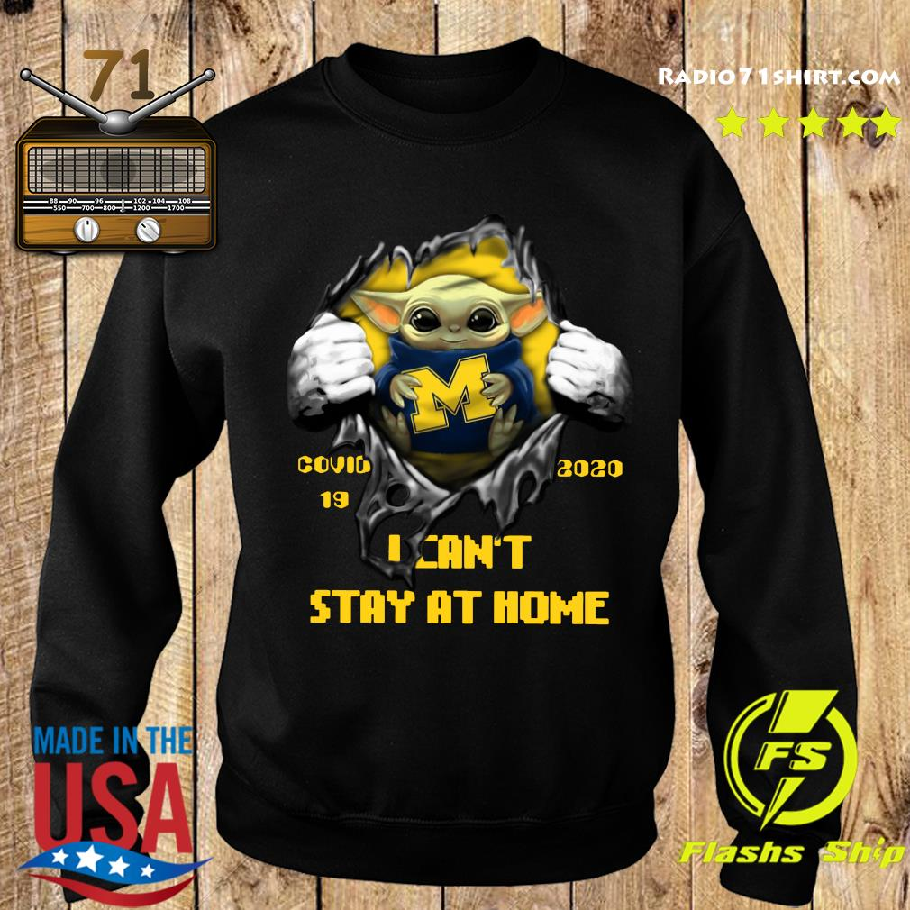Blood Inside Me Baby Yoda Michigan Wolverines Covid 19 2020 I Can't Stay At Home Sweater