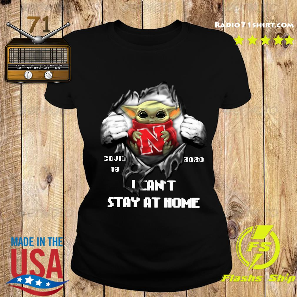 Blood Inside Me Baby Yoda Nebraska Cornhuskers Covid 19 2020 I Can't Stay At Home Ladies tee