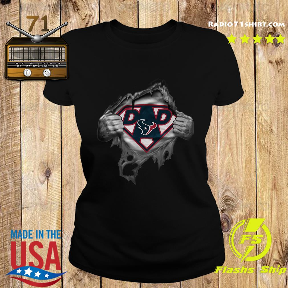 Blood Inside Me Dad Houston Texans NFL Logo Shirt Ladies tee